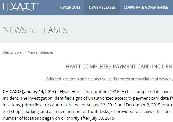 高級ホテル・ハイアット、客のクレジットカード情報漏洩の恐れ…所有者名やカード番号も