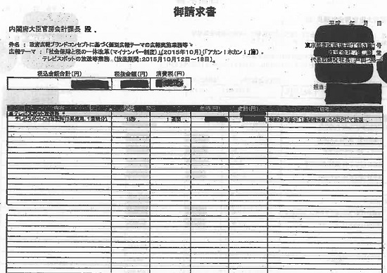 内閣府、博報堂へのCM発注額を「黒塗り」…発注額と契約金額に30倍の乖離、見積書なし